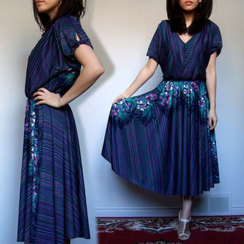70s Summer Day Dress V Neck Stripe Floral Print Sundress Navy Blue Dress - Extra Large XL XXL 2XL