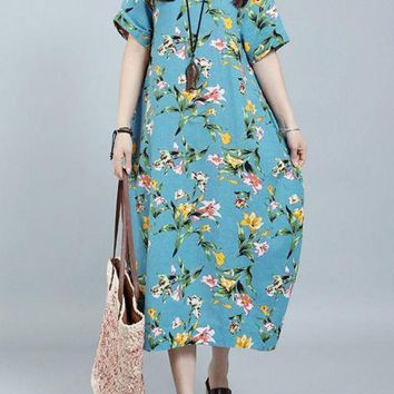 Chicloth O-Neck Dress Short Sleeve Pockets Casual Long Dress Vintage Floral Print
