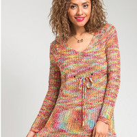 All The Colors Drawstring Knit Tunic