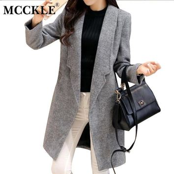 Women's Thick Long Woolen Coats Blends 2017 Spring Winter Fashion Casual Ladies Wool Coat Jackets Slim Grey Overcoat Big Size