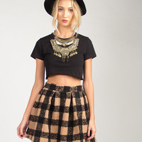 Checkered Flared Skirt - Tan