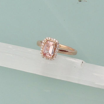 Peach Pink Champagne Emerald Cut Sapphire 14k Rose Gold Diamond Halo Engagement Ring Weddings Anniversary