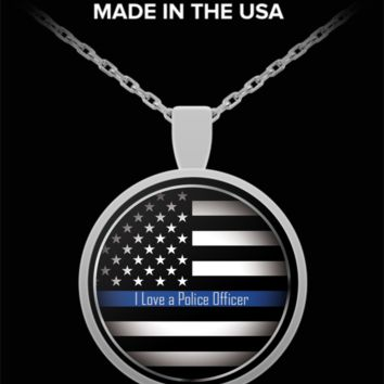 I Love a Police Officer Pendant Necklace