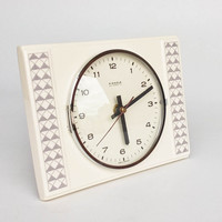 Vintage Ceramic Wall Clock by Kienzle, 70's Germany / White Grey