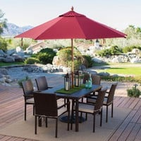 Commercial Grade 9-Ft Wood Umbrella with Burgundy Sunbrella Canopy