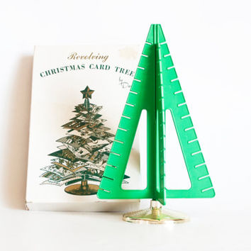 Vintage Tree Shaped Christmas Card Holder, Plastic Card Stand in Box, Mid Century 1960s Holiday Decor