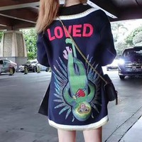 """Gucci"" Women Monkey Letter Embroidery Multicolor Stripe Diamond V-Neck Loose Knit Cardigan Long Sleeve Sweater Coat"