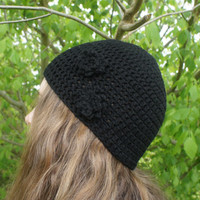 Crochet Beanie, Womens Beanie Hat / Cap in Black with Flowers, Beanie Cap from N-Chanted Clocks & Gifts