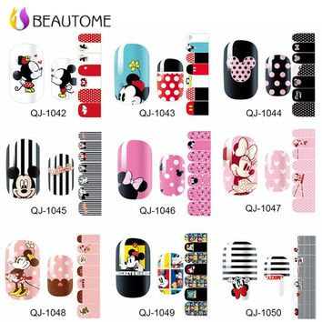 1 Sheets Nail Art Stickers Mickey Minnie Print Nail Tips Full Cover Decoration Decals DIY Manicure Beauty Gift for Lady Girls