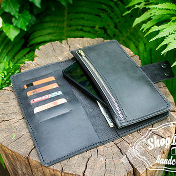 Large Leather Wallet / Ladies long wallet / Women Purse / Black Wallet / iPhone wallet