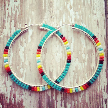 Beaded Turquoise Sunburst Hoop Earrings || Native American Crafted