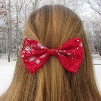 Red and Silver Snowflake Holiday Hair Bow