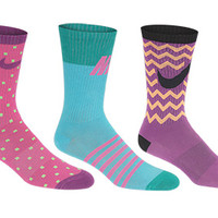 Nike Girls' Graphic Crew Socks - 3-Pack
