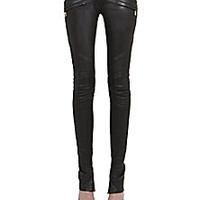 Balmain - Leather Moto Pants - Saks Fifth Avenue Mobile