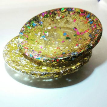 Gold Ring Dish , Bridesmaid Ring Dish ,  Wedding Ring Holder , Bridal shower Ring Dish , Glitter Ring Dish , unique ring dish
