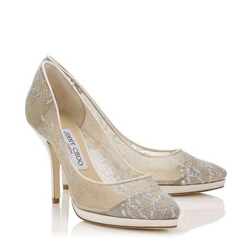 White Lace Almond Toe Platform Pumps | Lipp | Bridal Collection | JIMMY CHOO Shoes