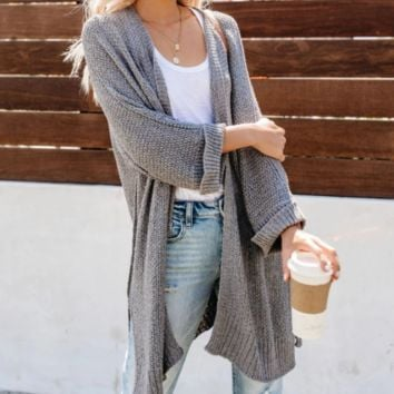 New Solid Color Cardigan Sweater Casual Loose Long Sleeve Sweater