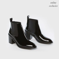 Heeled Patent Chelsea Boot - Black