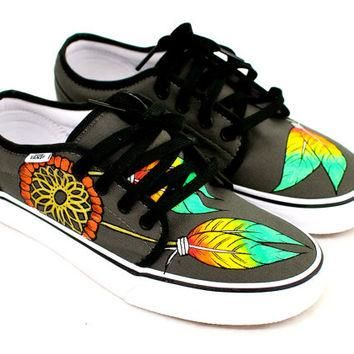 Hand Painted Rasta Dream Catchers on Vulcanized 106 Vans shoes - Pewter/Black