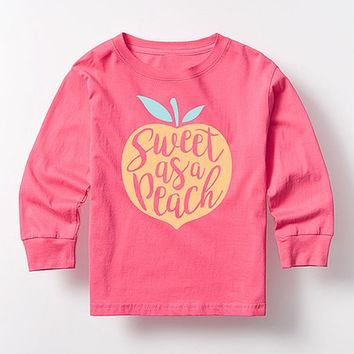 Hot Pink 'Sweet As a Peach' Long-Sleeve Tee - Toddler & Girls
