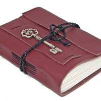 Burgundy Leather Journal with Key Bookmark - Ready to ship