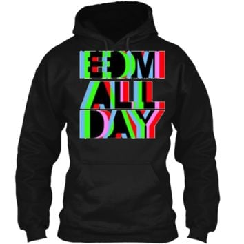 Cool EDM T-Shirt - Neon Anaglyph Style Rave Tee - Black Ink Pullover Hoodie 8 oz