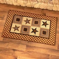 Country Star Accent Rug Carpet Mocha Brown Blue Rustic Primitive Home Decor