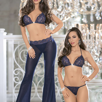 Escante Holiday Evening Desires Bra Pant Set Navy