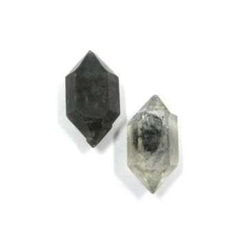 Tibetan Quartz 2 Double Terminated Crystals 27mm (Lot No. 3282) For Wire Wrapping and Jewelry Making, Black