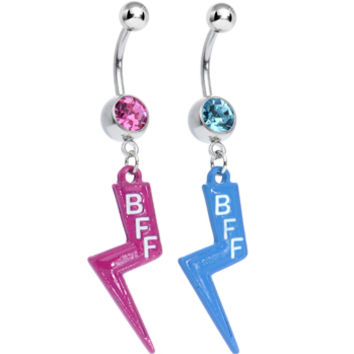 Pink and Aqua Gem Best Friends Lightning Bolt Dangle Belly Ring Set | Body Candy Body Jewelry
