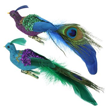 "8"" Regal Peacock Purple  Green and Blue Sequins Bird Clip-On Christmas Ornament"