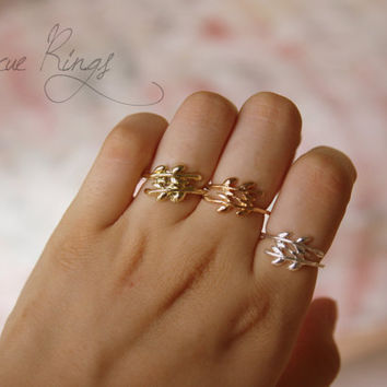 PICK A COLOR Cute Leaf Ring by RescueRings on Etsy