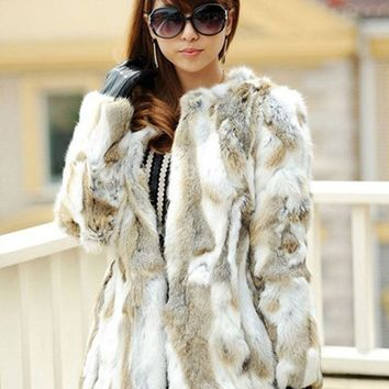 YCFUR Classic Style Women Coats Jackets Winter Pieces Of Rabbit Fur Coat For Women Warm Winter Natural Fur Jacket Female Outwear