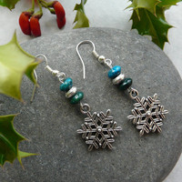 Earrings Christmas Snowflake Beads Free Worldwide Shipping