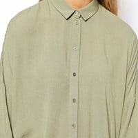Shirt Collar Half Sleeve Blouse