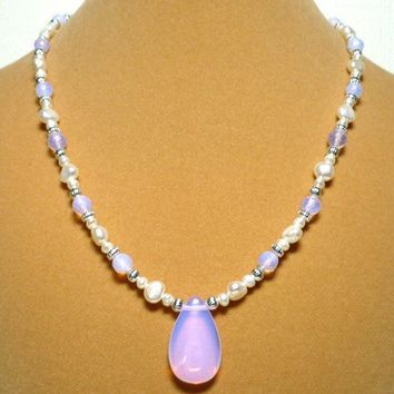 Pink Opalite and White Baroque Freshwater Pearl 17 inch Necklace