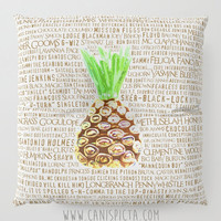 Psych Floor Pillow Square TV Show Shawn Gus Quote Decorative Television Fan Cover Pop Culture Humor Funny Brown Art Pineapple Cushion Green