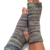 MADE TO ORDER Toeless Yoga Socks Hand Knit in Aquamarine Green Blue Stripes Pedicure Pilates Dance