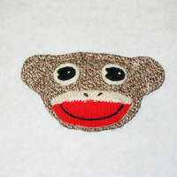 Sock monkey face pin hair clip ornament brooch backpack pin Rockford Red Heel sock red lips brown felt quirky hipster accessory  gift