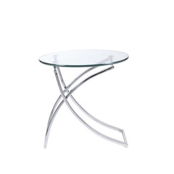 Eurostyle Talisa Round Glass Top Side Table w/ Chromed Steel Base