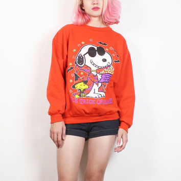 Vintage 1980s Orange Sweatshirt SNOOPY Cartoon Halloween Print Joe Cool Woodstock 80s Novelty Screen Print Tshirt Peanuts Jumper M Medium L