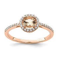 Sterling Silver Rose Plated Round Peach CZ Halo Ring