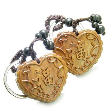Love Couples Best Friends Amulets Wood Lucky Hearts Feng Shui Love Powers Keychains Blessings