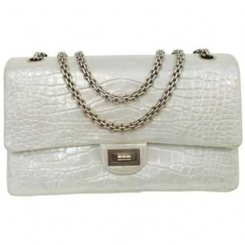 Chanel Reissue Silver Croc Leather Flap Bag 2.55