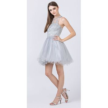 Halter Beaded Homecoming Short Dress Silver