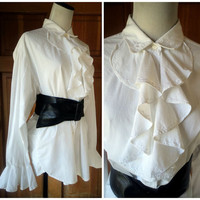 Vintage 80s Poet Shirt Pirate Ruffles Costume Embroidery Button Up Blouse Ruffle Front Sleeves Oversize Top 46 bust XXL