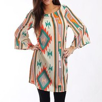 Southwest Tunic Dress, Beige