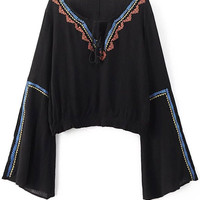 Ethnic Retro Bell Sleeve Cropped T-Shirt