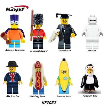 Super Hero Penguin Boy Graduates Hot Dog Man Mr.Lester Baymax Banana Man Batman Simpson  Building Blocks Toys KF1032