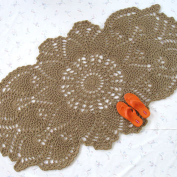 Oval Jute Area Rug - Pineapple Hall Rug - Oblong Doily Rug - Natural Fiber Rug - Jute Hall Runner - Novelty Rug - Cottage Decor - Burlap